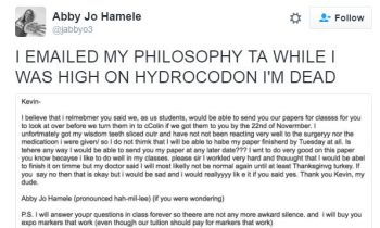 Girl High On Wisdom Teeth Meds Sends Hilarious Email To TA