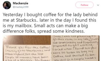 Woman Pays For Strangerand#039;s Coffee, Then Finds A Note In Her Mailbox